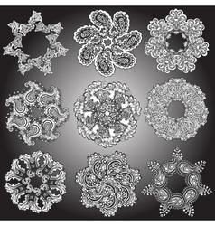 Set Mandalas Round Ornament Pattern vector image