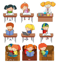 Set of children studying vector