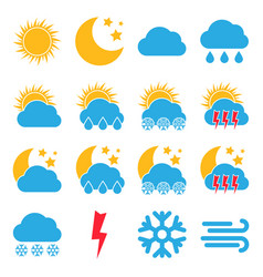 set of sixteen weather icons vector image