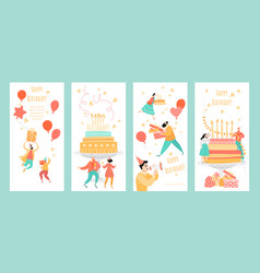 set templates for greeting birthday banners vector image