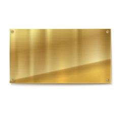 shiny brushed metal gold yellow plate banners vector image