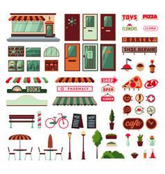Shop facade and exterior elements set vector