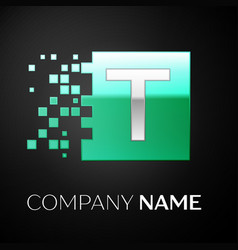Silver letter t logo symbol in the green square vector