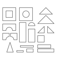 Simple line style blocks toy details for coloring vector