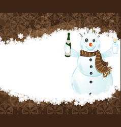 Snowman with a bottle of champagne vector