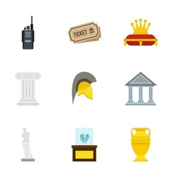 Stay in museum icons set flat style vector