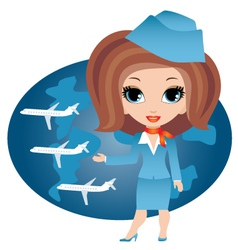 stewardess cartoon vector image
