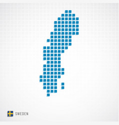 sweden map and flag icon vector image