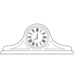 Table clock outline drawing vector