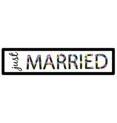 template license plate with just married vector image