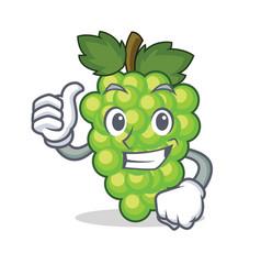 thumbs up green grapes character cartoon vector image