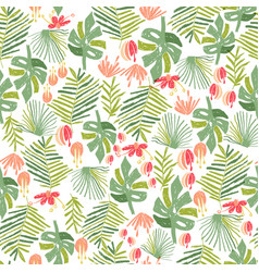 Tropical flower jungle seamless pattern vector