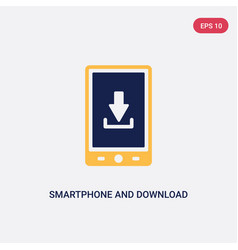 two color smartphone and download arrow icon from vector image