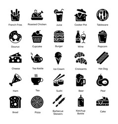 Variety food and snacks in solid design vector