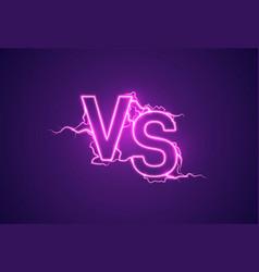 versus sign vs glow symbol vector image