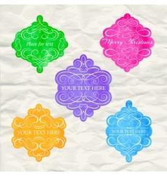 Vintage labels set colorful frames design vector image
