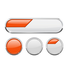 White and orange buttons set vector