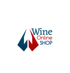 wine online shop sign vector image