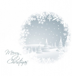winter card with snowy landscape vector image