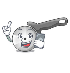 with phone pizza cutter knife cartoon for cutting vector image