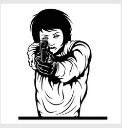 Woman aiming a gun isolated on vector