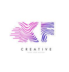 xf x f zebra lines letter logo design with vector image