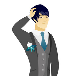 Young asian groom scratching his head vector