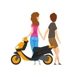 young man and woman standing next to the scooter vector image