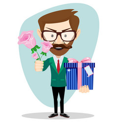 young man give rose and gift present to lover vector image