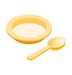 Baby plate spoon isometric 3d icon vector