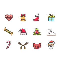 christmas colorful icons set vector image