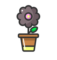 Dark purple flower in clay pot isolated on white vector