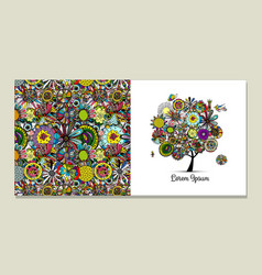 greeting card design floral tree vector image vector image