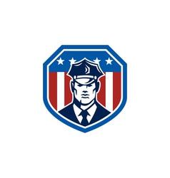 American Security Guard Flag Shield Retro vector image