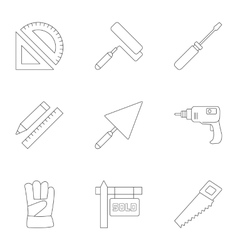 Construction icons set outline style vector image