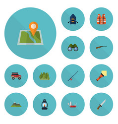 flat icons ship zoom suv and other vector image