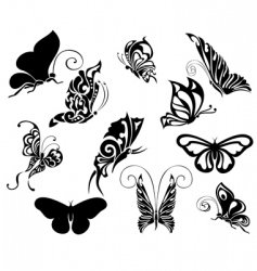 set of tattoo butterflies vector image
