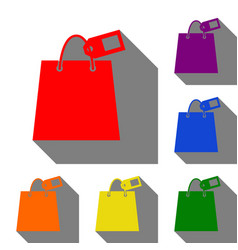 shopping bag sign with tag set of red orange vector image
