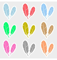 various color feathers symbols stickers set eps10 vector image vector image