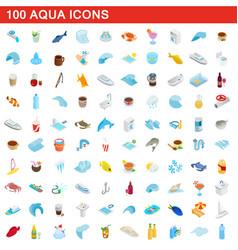 100 aqua icons set isometric 3d style vector image vector image