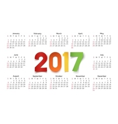 Calendar template for a year 2017 on white vector image