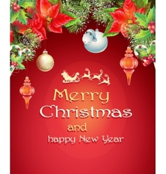 Christmas card with branches of a Christmas tree vector image