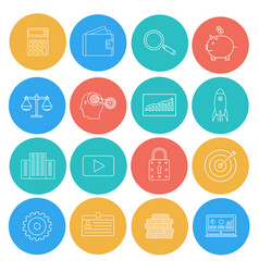 flat lines icons of business and finance vector image