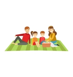 Parents And Kids Having Picnic Happy Family vector image
