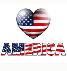 AMERICA with Heart Icon vector image