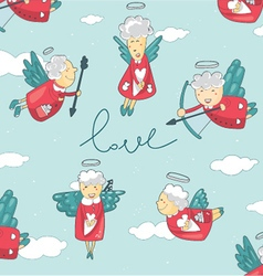 background with cupid and angel love vector image