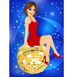 beautiful woman in red dress sitting on disco ball vector image