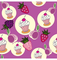 cupcake berries pattern vector image vector image