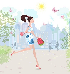 Fashion lady walking on street with shopping vector image