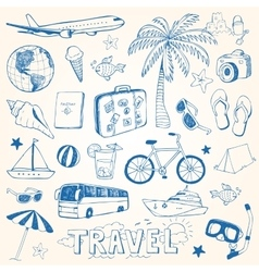 Hand drawn travel doodles vector image